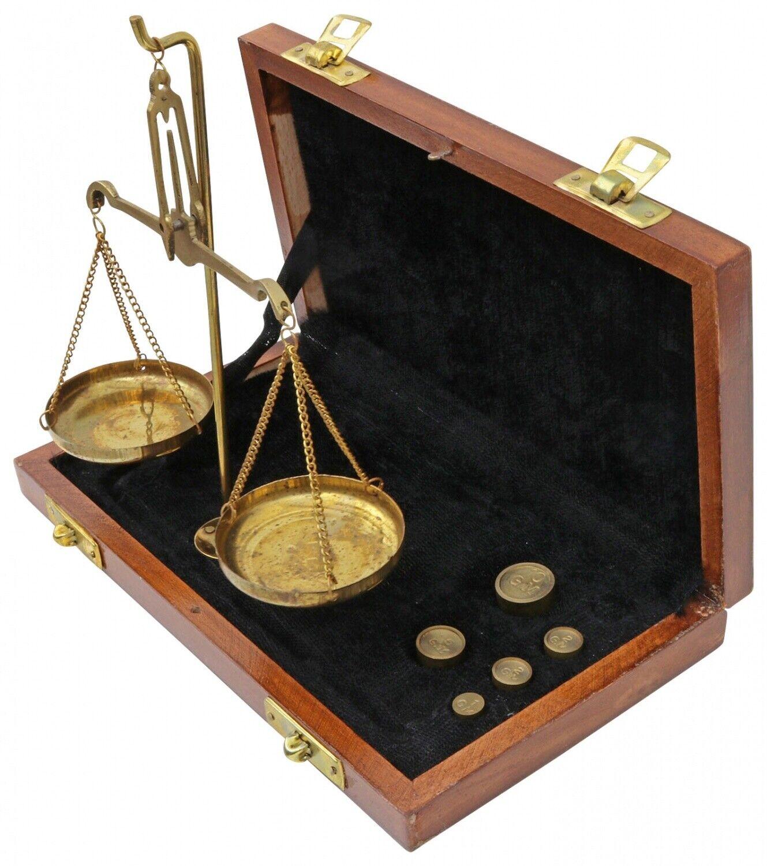 Waage Feinwaage Goldwaage Messing Apothekerwaage Holzbox AntikStil