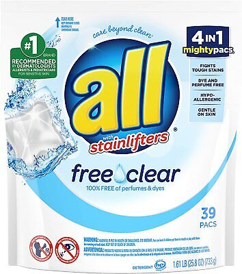 All Stainlifters Mighty Pacs Laundry Detergent, Free Clear (39 Count Pouch) Free & Clear Laundry