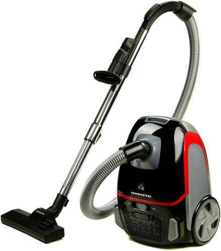 Ovente Canister Vacuum 1400 Watts with Energy Saving Speed Control Black ST1600B