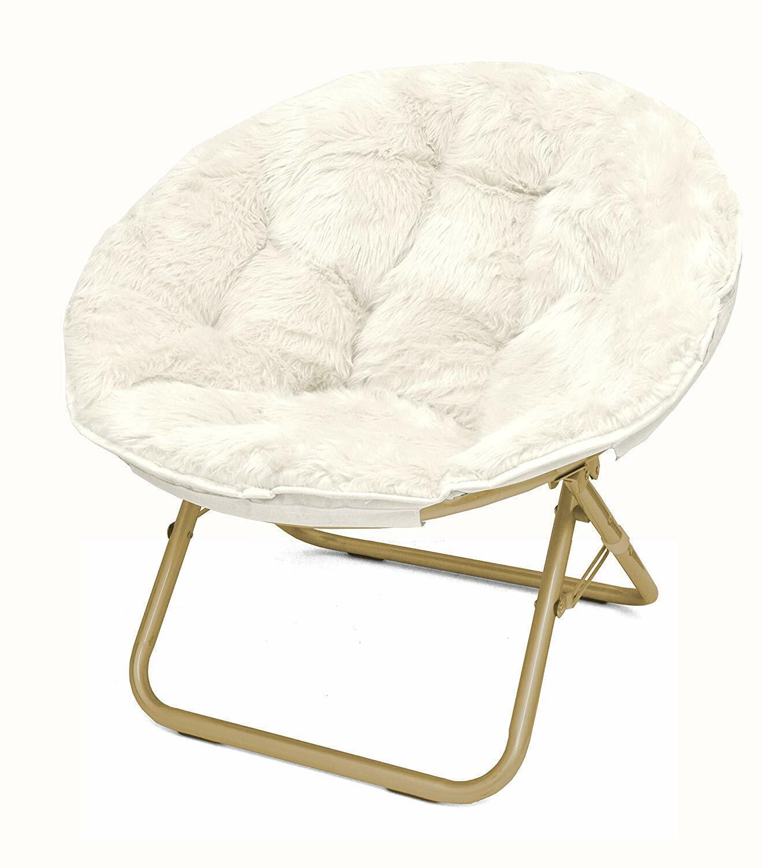 White Saucer Chair Dorm Room Modern Furniture Soft Faux Fur
