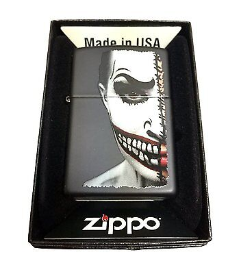 Zippo Custom Lighter Half Scary Painted Clown Face Regular Black Matte New Gift - Scary Clown Face Painting