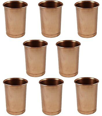 Set of 8 Glasses, Pure Copper Tumblers Ayurvedic Water Drinking Glasses