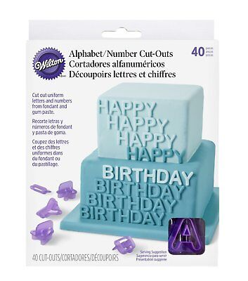 Wilton 40 Pcs Alphabet Letters Numbers Cut-Outs Cake Decoration Party Pack Set (Letter Cutouts)