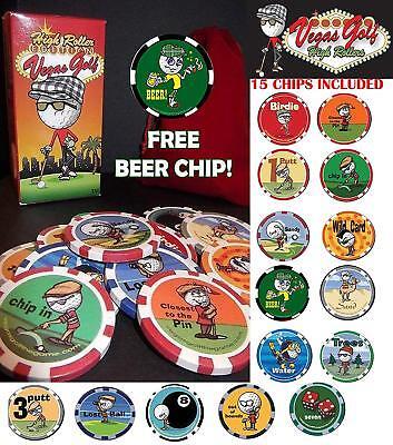 High Roller Vegas Golf Poker Chip Novelty Game - Wild Beer Birdy Putt Sand - Vegas Golf Game Poker Chips