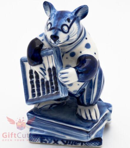 Gzhel Mice rat Accountant abacus Крыса Канцелярская porcelain figurine souvenir