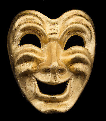Mask from Venice Face Volto Paper Mache Golden Tragedy Laugh 2269 VG9B