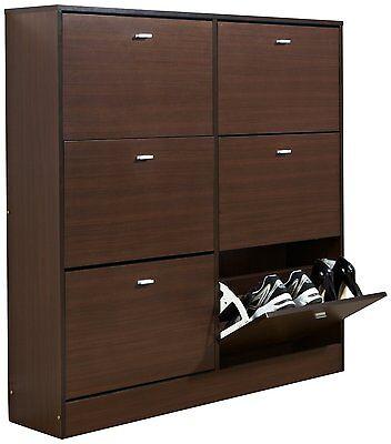 Shoe Cupboard Walnut 6 Door Shoe Storage System Dark Wood Tall Oakdale