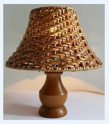 Vintage Mid Century - 70's Small Turned Teak Wood Light Lamp & Wicker Shade