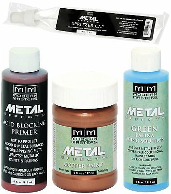 Modern Masters Metal Effects Copper Paint and Green Patina 4 oz Kit + -