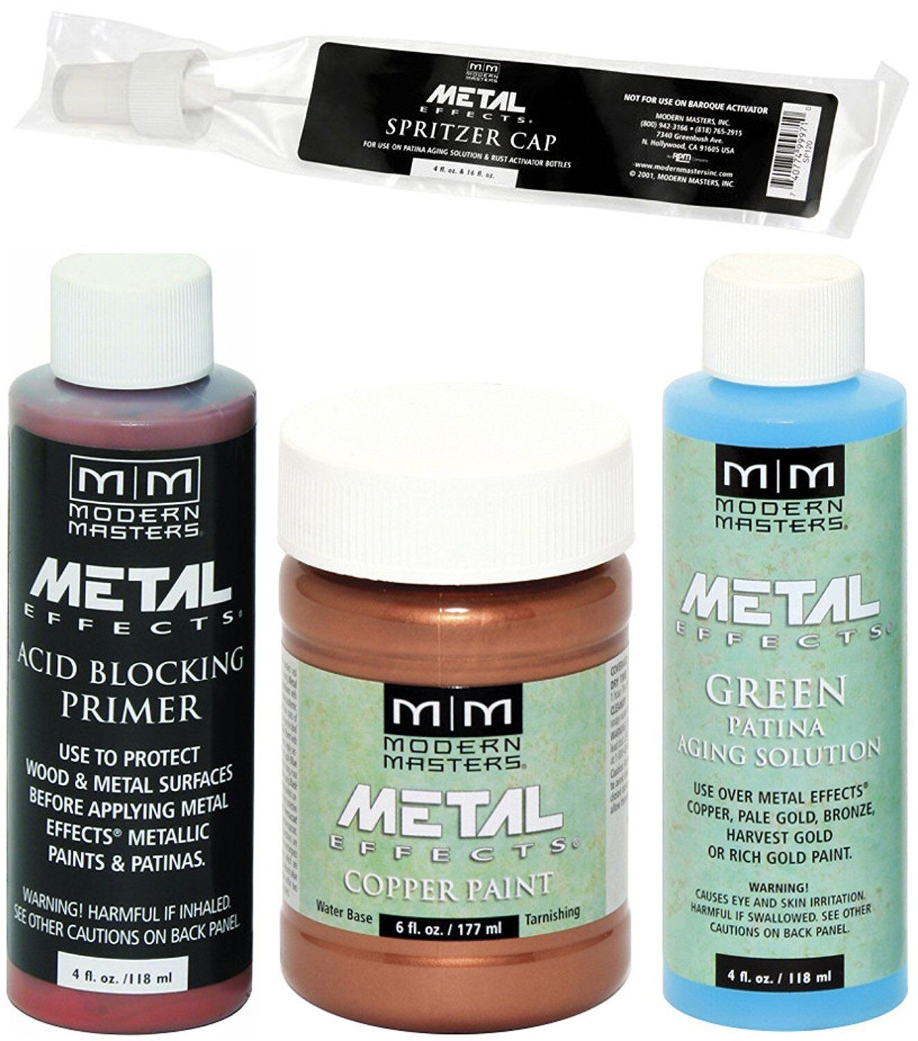 Modern Masters Metal Effects Copper Paint and Green Patina 4 oz Kit + Primer Building & Hardware