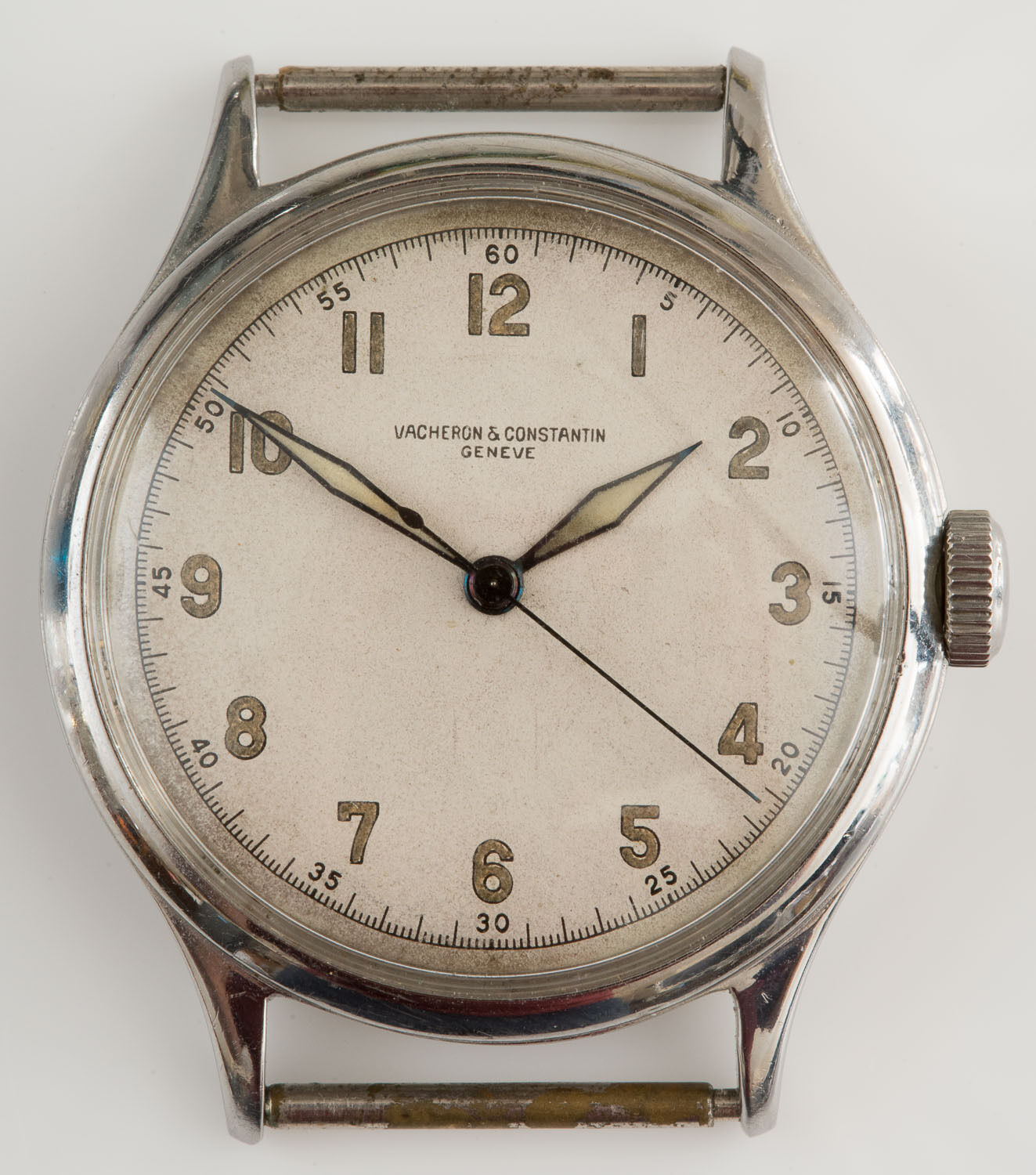 VINTAGE 1940s VACHERON & CONSTANTIN STAINLESS STEEL MILITARY TYPE MAN'S WATCH! - watch picture 1