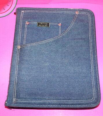 Vintage Denim Binder Folder Limited Access Three Ring Planner Zipper Blue Jean