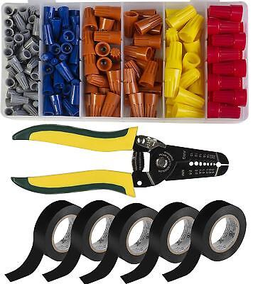 Electricians Tool Kit 5-pack Pvc Electrical Tape Connectors And Wire Strippers