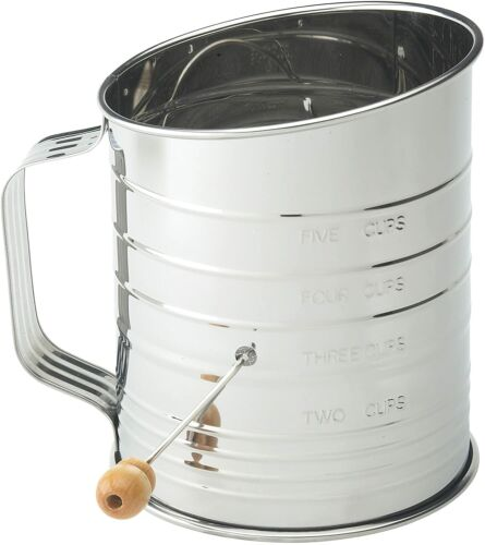 Mrs Andersons Baking Hand Crank Flour Icing Sugar Sifter Stainless Steel 5 CUPS