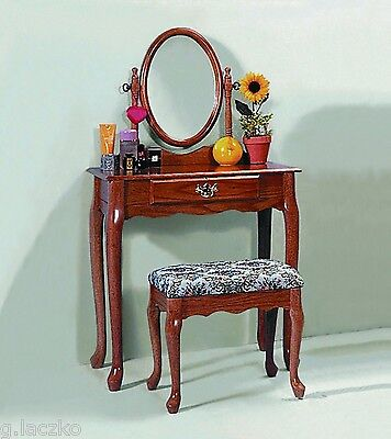 - Vanity Dressing Table Mirror Antique Jewelry Vintage Wood Oak Dresser Set Makeup