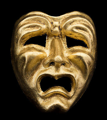 Mask Venice Face Volto Paper Mache Golden Tragedy Weeping 2268 Vg9b