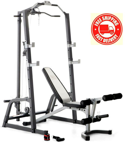 Deluxe Olympic Power Cage PLUS Lat Pulldown System & Weight Bench, FAST SHIPPING
