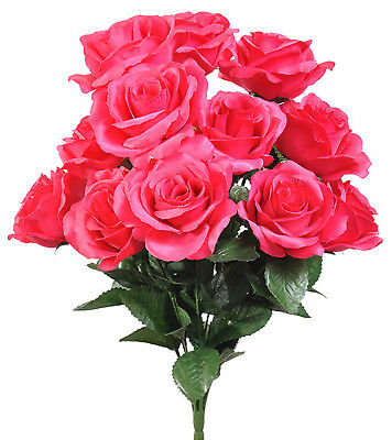 (Fuchsia Hot Pink ~ 12 Open Long Stem Roses Silk Wedding Flowers Bridal Bouquets)