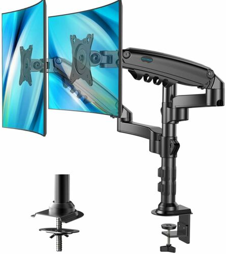 """HUANUO Dual Gas Spring Monitor Mount Stand HNDS8 Desk Clamp Black 17-32"""""""