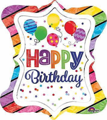 nballon Super Shape Happy Birthday Gestreifter Rand Schild (Gestreifte Ballons)