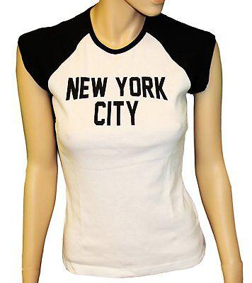 Ladies Raglan John Lennon T-Shirt Womens New York City Tee Rib Cap Sleeve