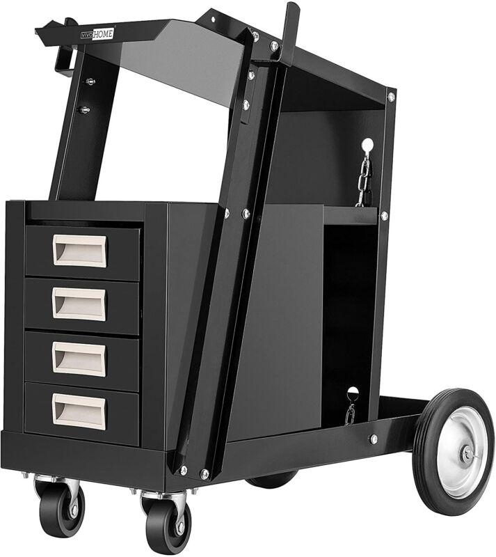 VIVOHOME Iron Rolling Welding Cart w/ 4 Drawers Wheels & Tank Storage For Welder