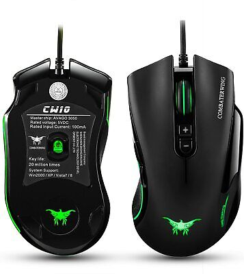 Combaterwing CW10 DPI Wired Professional Gaming Mouse Mice 6 Breathing LED Color