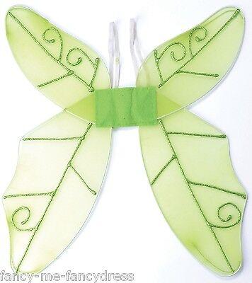 Damen-Grün Garten Elfe Märchen Wings Kostüm Kleid Outfit (Garten Märchen Kostüm)