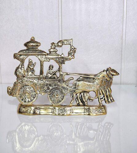 Metal Lord Krishna & Arjun Rath Chariot With Two Horses Decorative Showpiece