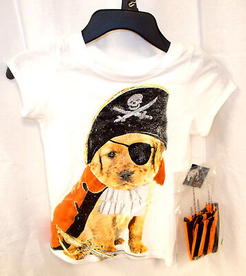 Halloween Pirate Dog Girls T-shirt Orange Black Gloves XS S M L XL NWT