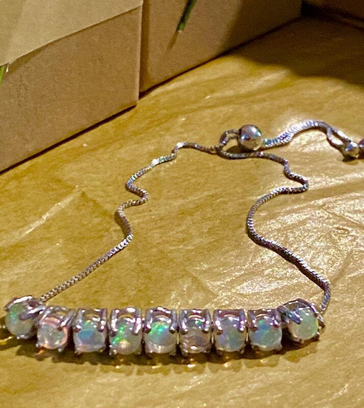 STS Chuck Clemency Genuine OPALS Sterling Silver Bracelet adjustable Chain Slide