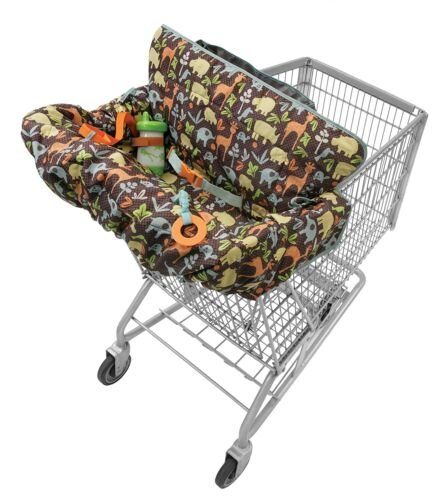 Infantino Compact 2-in-1 Shopping Cart Cover Neutral Safari Packable