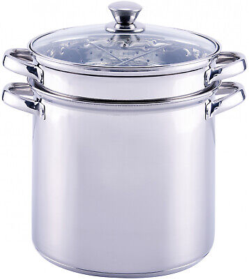 Pasta Cooker Steam Pot Stainless Steam Steamer 8 Quart Cooking Spaghetti 4 Pcs