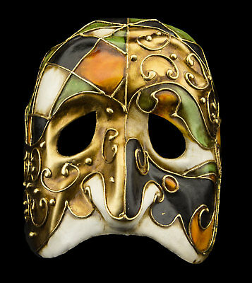 Mask from Venice Polichinelle Golden Paper Mache for Man Top Range 22353