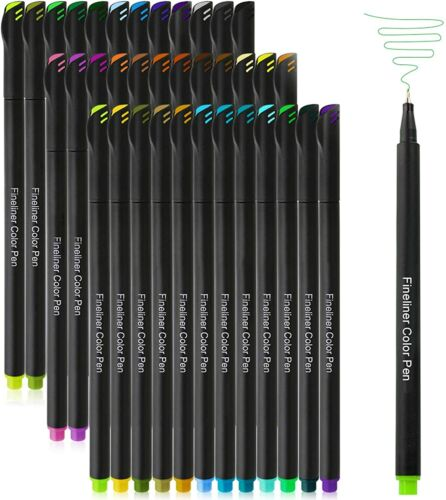 36 Pack Fineliner Color Pens Set- Fine Tip Drawing Pen for Writing Note Coloring