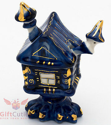 Gzhel porcelain Baba Yaga House Barrel pot jar container Magic Hut figurine for sale  Shipping to India