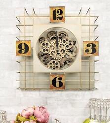 Large 19 Modern Steampunk Industrial Cage Design Moving Gears Metal Wall Clock