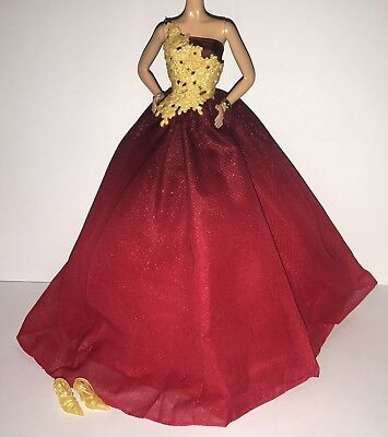 - Barbie Model Muse Doll Holiday 2016 Ball Gown Outfit Red & Gold Dress Shoes NEW