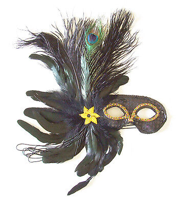 Black Feather Masquerade Ball Mardi Gras Mask New Orleans Party Halloween Prom (New Orleans Halloween Masquerade Ball)