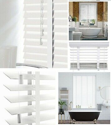 Faux Taper (Faux Wood Window Venetian Blinds Blind With Tape 50mm Slats White TRIMMABLE New)