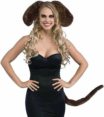 Brown Dog Kit Ears Tail Animal Fancy Dress Halloween Adult Costume Accessory