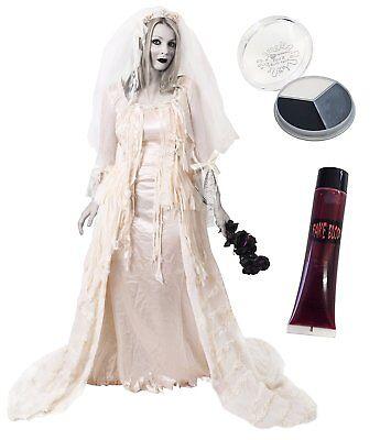 DELUXE ZOMBIE BRAUT KOSTÜM HALLOWEEN VERKLEIDUNG MAKE UP KLEID BLUT (Braut Kostüm Make Up)