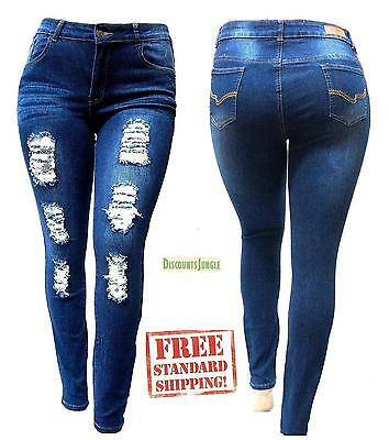 SL 1826 WOMENS PLUS SIZE Stretch Distressed Ripped BLUE SKINNY DENIM JEANS PANTS