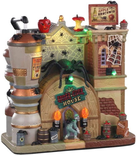 Lemax 05606 SPIDER CIDER HOUSE Spooky Town Building Halloween Decor I