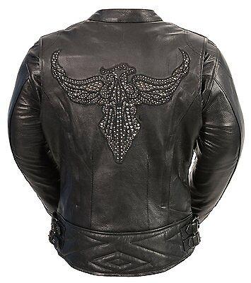 - Ladies Black Leather Biker Racer Jacket w Phoenix Embroidery, Studding