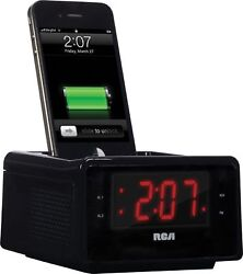 RCA  Dual Alarm Clock FM Radio iPhone iPod Charge/Play 30-Pin Docking AUX-IN