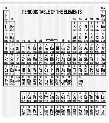 Periodic Table Shower Curtain Black and White Print for Bath