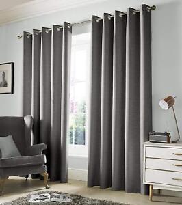 Ashley Wilde Monaco Dove Grey Eyelet Ready Made Fabric Curtains 66