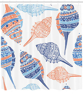 Maritime Sea Creatures Hawaii Colorful Seashells Beach Extra Long Shower Curtain - Colorful Sea Creatures