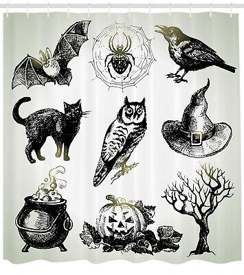Vintage Halloween Duschvorhang, Raven Owl Spinne